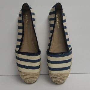 BCBGeneration Blue and Off White Striped Flats